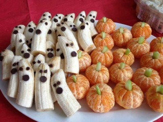 Looking for new ideas for Halloween? Try banana ghosts with chocolate chip eyes or clementine pumpkins with celery or snow pea  stems.  --Risa Elias, Chair, PTA Health and Wellness Committee