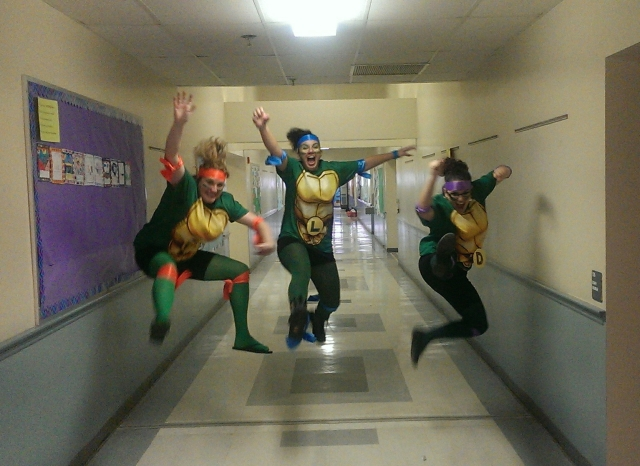 While the students were at recess on Halloween, fourth grade teachers morphed into Teenage Mutant Ninja Turtles.