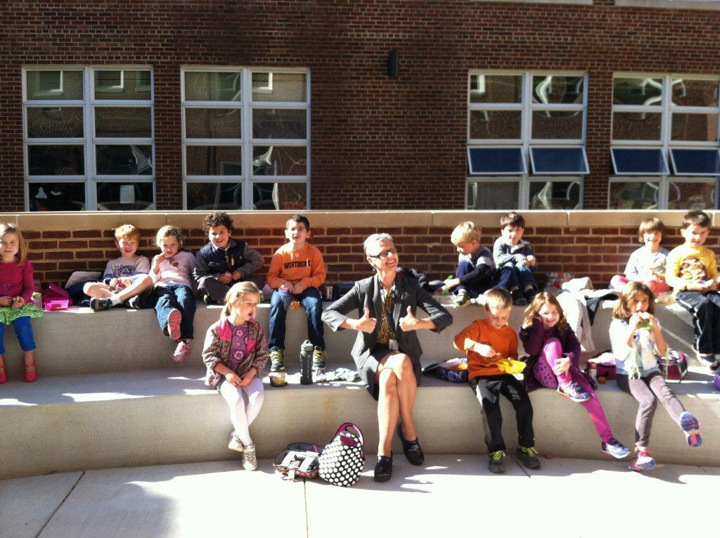 """Our wonderful courtyard lunch...FUN.""  - Principal Lane."